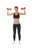 Sexy woman exercising with dumbbells Royalty Free Stock Photography