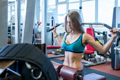 Sexy woman exercising on simulator in fitness room Royalty Free Stock Photo