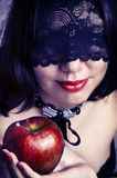 woman face closeup with black lace mask Royalty Free Stock Photography