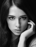 Sexy woman face. Closeup black Stock Images