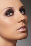woman face with smoky eyes makeup, clean skin Royalty Free Stock Photography