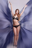 Sexy woman with fairy blue wings fashion concept Stock Photo