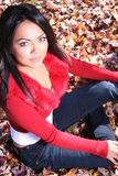 Woman In Fall fashion Outdoors Stock Images