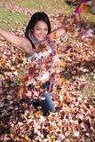 Woman In Fall fashion Outdoors Stock Photography