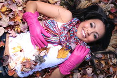 Woman In Fall fashion Outdoors Royalty Free Stock Image