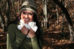 Woman In Fall fashion Outdoors Royalty Free Stock Photo