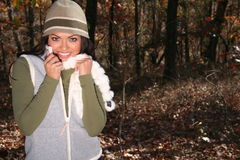 Woman In Fall fashion Outdoors Stock Photos