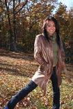 Woman In Fall fashion Outdoors Royalty Free Stock Photography