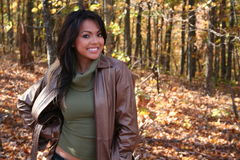 Woman In Fall fashion Outdoors stock image