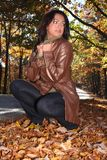Sexy Woman In Fall fashion Outdoors Royalty Free Stock Photos