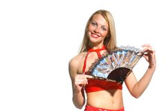 Sexy woman with fan Royalty Free Stock Photography