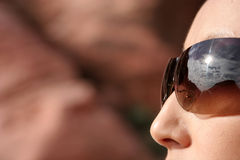 Sexy woman in fashionable sunglasses Stock Photo