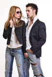 woman flirting with a handsome guy royalty free stock image