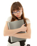woman with folder standing Stock Images