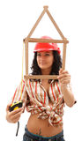 woman with folding rule and measure tape Royalty Free Stock Image