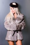 woman in fur royalty free stock images