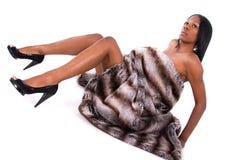 woman in fur blanket. Stock Photo