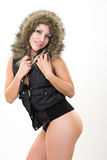 Sexy woman in fur coat Royalty Free Stock Images