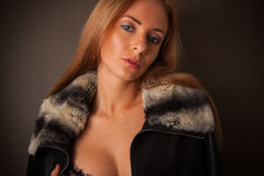 Sexy woman in fur neckpiece Stock Photography