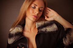 Sexy woman in fur neckpiece Royalty Free Stock Images
