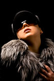 Sexy woman with furr and sunglasses Royalty Free Stock Photos