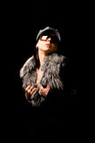 Sexy woman with furr and sunglasses Stock Photos
