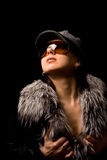 Sexy woman with furr and sunglasses Royalty Free Stock Photo