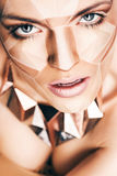 Sexy woman with geometrical bodyart on face Royalty Free Stock Images
