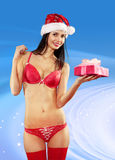 Sexy woman with gift Royalty Free Stock Image