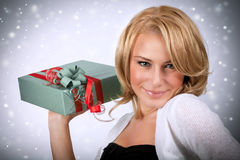 Sexy woman with gift box Royalty Free Stock Photos