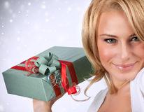 Sexy woman with gift box Stock Image