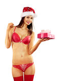 Sexy woman with gift on white Stock Image