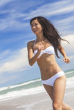Sexy Woman Girl in Bikini Running on Beach Stock Image