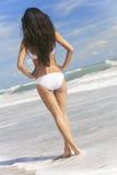 Woman Girl White Bikini on Beach Royalty Free Stock Photo