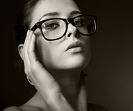 Sexy woman in glasses looking hot Stock Photos