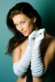 Sexy woman in gloves Royalty Free Stock Photography