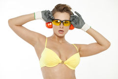 Sexy woman in goggles and gloves construction Stock Image