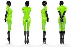 Sexy Woman in green and black latex Stock Photos
