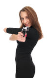Sexy woman with a gun Stock Image
