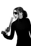 Sexy woman with a gun Stock Images
