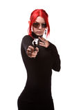 Sexy woman with a gun Stock Photo