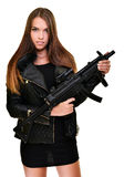 Sexy woman with gun Stock Images