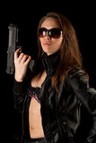 Sexy woman with guns Royalty Free Stock Photos