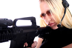 Sexy Woman with Guns. Sexy Assassin - Female Hitman - Law Enforcement Officer Royalty Free Stock Photography