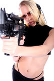 Sexy Woman with Guns. Sexy Assassin - Female Hitman - Law Enforcement Officer Stock Photo