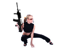 Sexy Woman with Guns. Sexy Assassin - Female Hitman - Law Enforcement Officer Royalty Free Stock Image