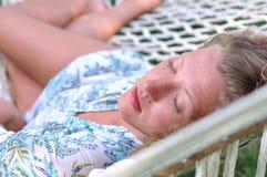 Sexy woman in hammock Royalty Free Stock Photos