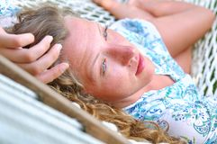 Sexy woman in hammock Royalty Free Stock Image