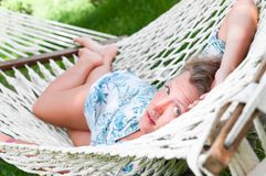 Sexy woman in hammock Royalty Free Stock Images