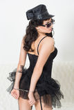 Sexy woman with handcuffs in fashion glasses Royalty Free Stock Photo
